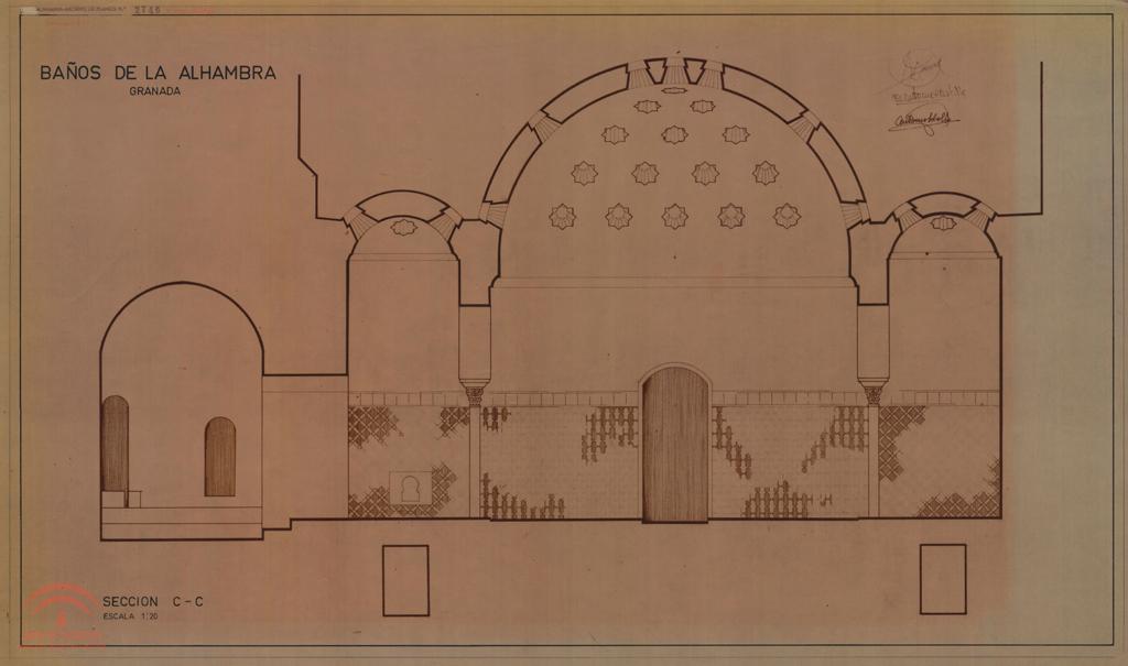 Alhambra ba os de comares secci n c c anterior a 1966 - Banos arabes palacio de comares ...