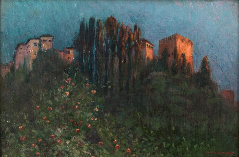 La exposición 'Granada, meta de artistas' incorpora la obra 'Vista de la Alhambra' de Gustavo Bacarisas