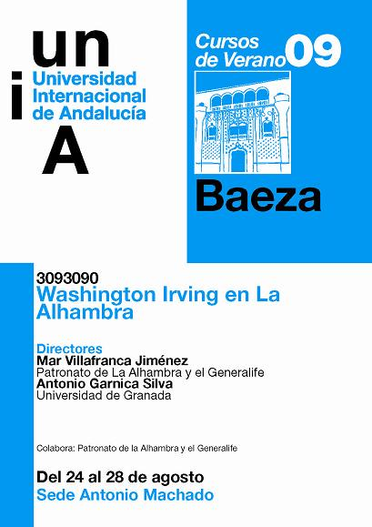 La Universidad Internacional de Andalucía y el Patronato de la Alhambra recuerdan al escritor Washington Irving