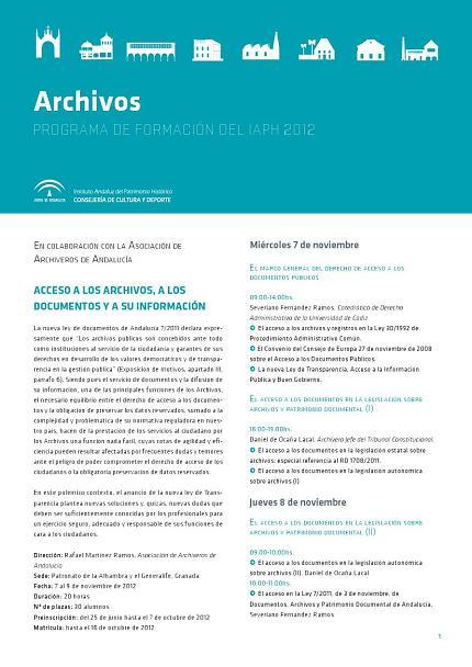 Curso de acceso a los archivos, a los documentos y a su información