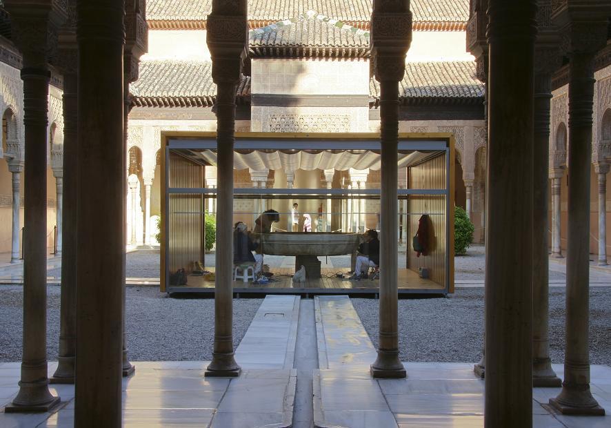 El taller temporal de restauración de la Fuente de los Leones recibe un premio internacional de arquitectura en Venecia