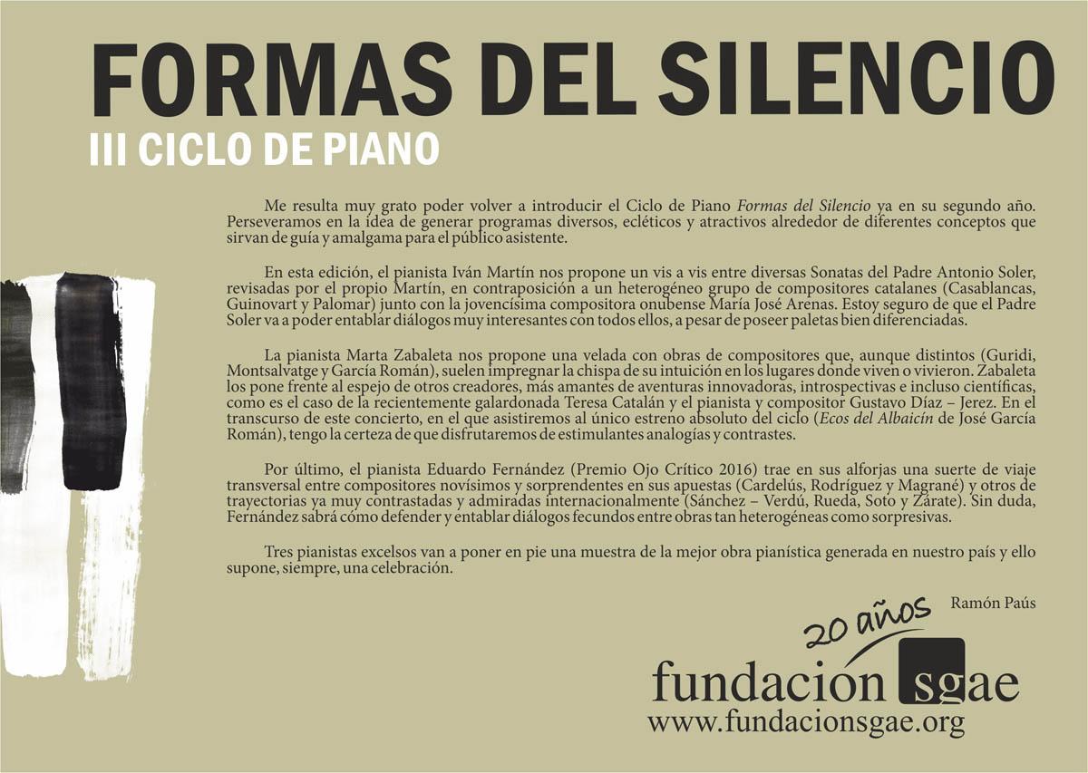 """La Alhambra y la Fundación SGAE organizan el ciclo de conciertos gratuitos para piano """"Formas del Silencio"""""""