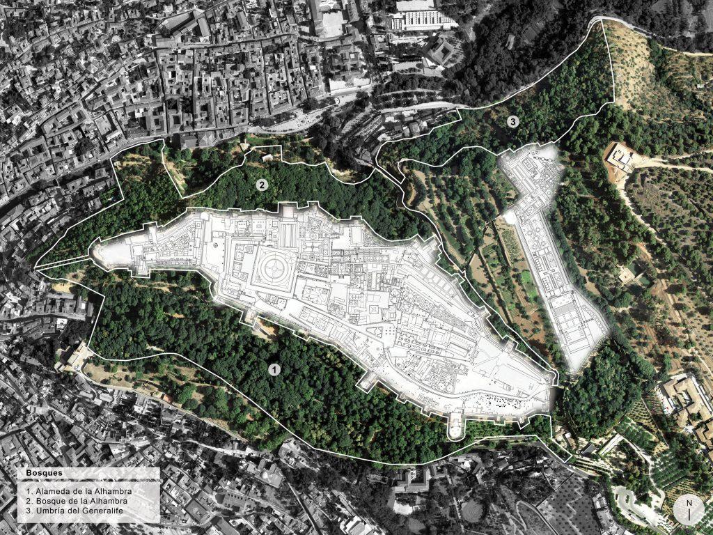 Plano de los bosques de la Alhambra