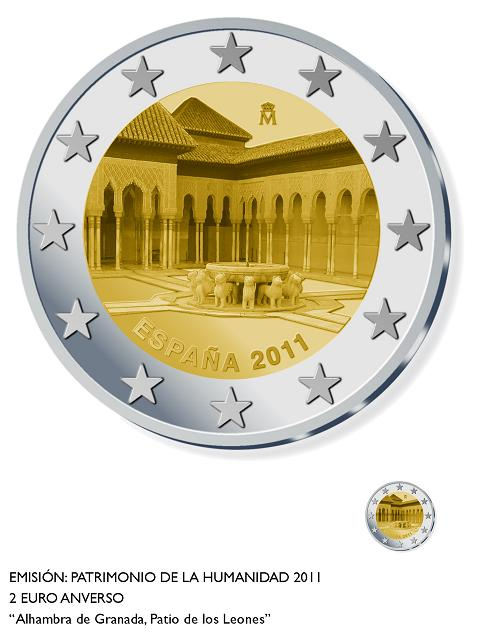 The Alhambra's Court of the Lions on a €2 commemorative coin