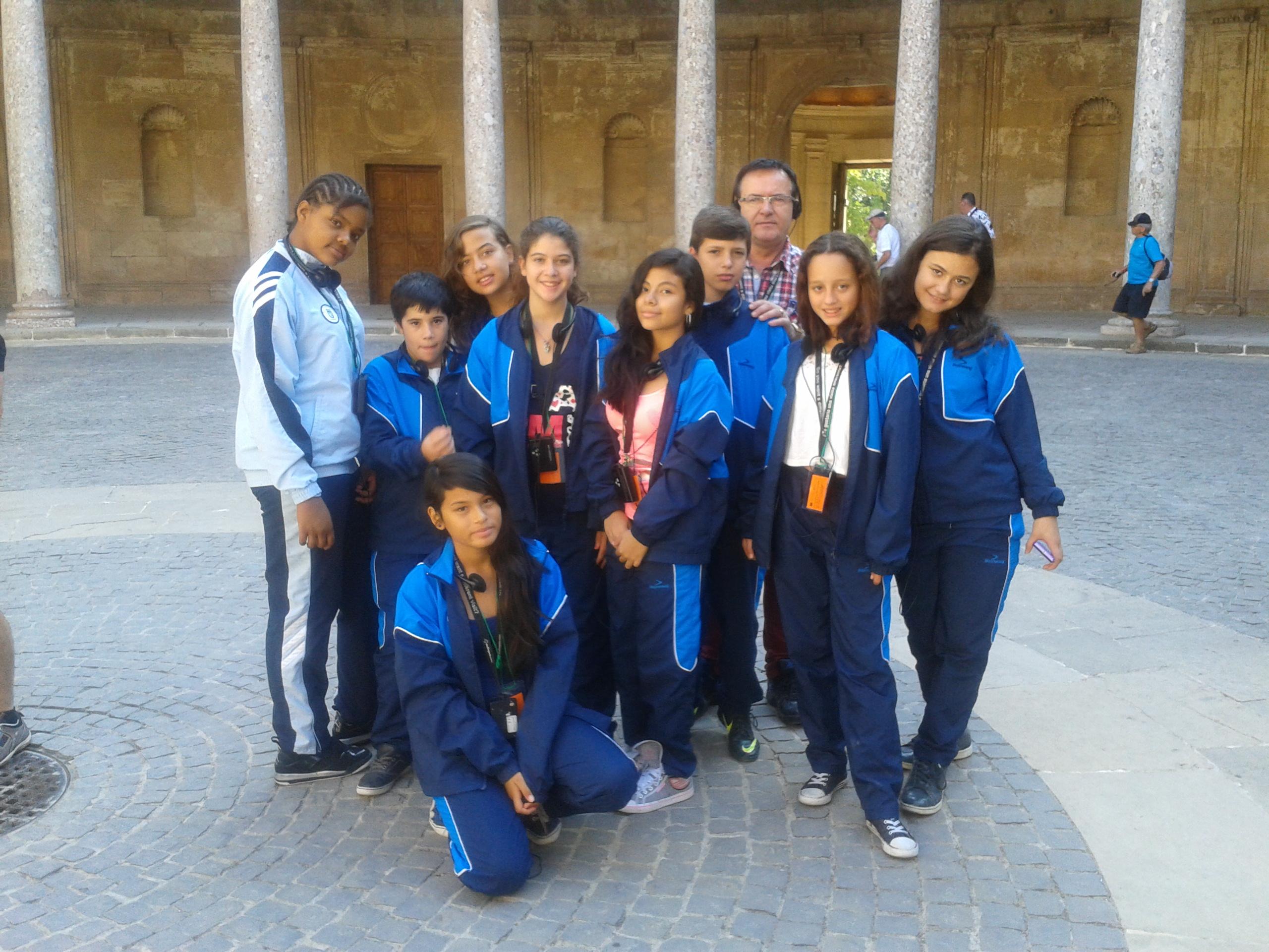 Spain's 'Good Luck Children' visit the Alhambra