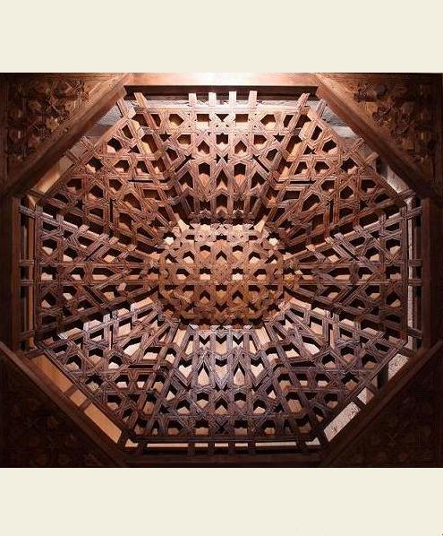 Wooden ceiling with a pattern based on an octagonal grid