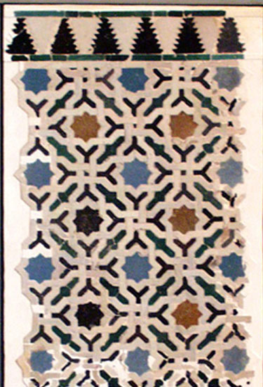 The tiled socle of the Hall of the Ship. Example of the tiling technique
