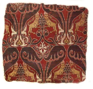 Fabric with crowned lions