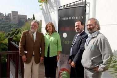 Miguel Gómez Oliver, María del Mar Villafranca, Pedro Benzal y Miguel Berbel, en el Carmen de la Victoria.