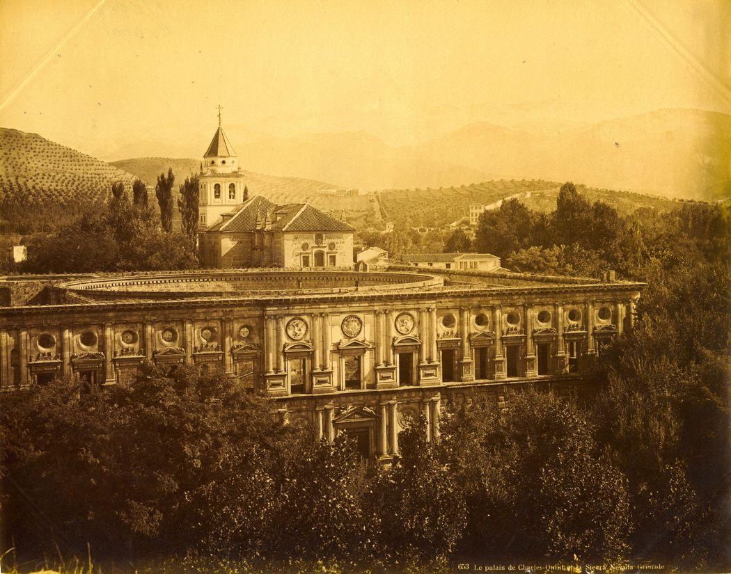 J. Levy & Cie. El palacio de Carlos V y Sierra Nevada. Granada 1885. Archivo Patronato de la Alhambra y Generalife.Coleccion de Fotografias.