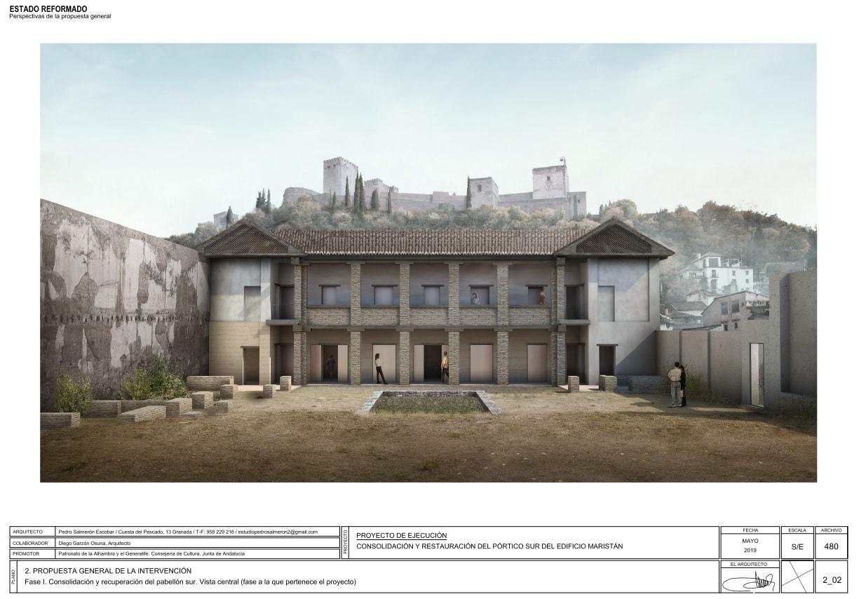 Proyecto de restauración del pórtico sur del edificio Maristán