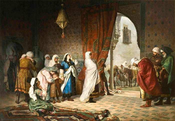 Óleo sobre lienzo: La Salida de la familia de Boabdil de la Alhambra